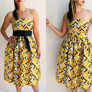 Milly Metallic Chevron strapless midi dress. 4